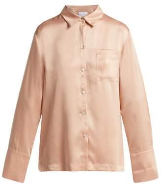 Asceno - Silk Satin Pyjama Shirt - Womens - Light Pink