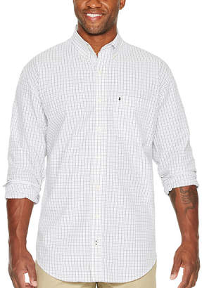 Izod Long Sleeve Checked Button-Front Shirt-Big and Tall