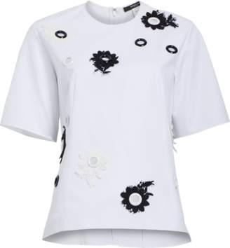 Derek Lam Short Sleeve Embroidered Top