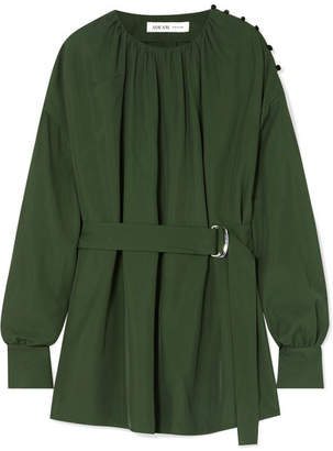 ADEAM - Oversized Gathered Twill Blouse - Emerald