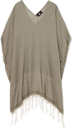 Luma SU Paris Fringed Ribbed Cotton-voile Kaftan - Army green