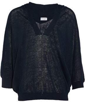 Brunello Cucinelli Bead-Embellished Open-Knit Linen-Blend Hooded Top