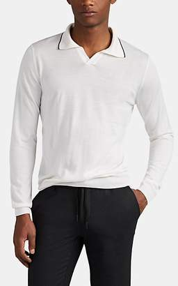 Fioroni Men's Cashmere-Silk Johnny-Collar Polo Shirt - White