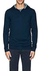 Loro Piana Men's Contrast-Detailed Silk-Cashmere Half-Zip Hoodie-Blue