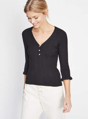 Miss Selfridge Black button knitted top