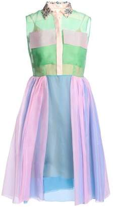 DELPOZO Embellished Color-Block Silk-Organza Shirt Dress