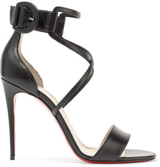 Christian Louboutin - Choca 100 Leather Sandals - Black $845 thestylecure.com