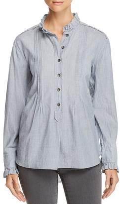 Rebecca Taylor Striped Ruffle-Trim Shirt