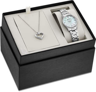 Bulova Women's Diamond Accent Stainless Steel Bracelet Watch 28mm & Heart Pendant Box Set 96X139, a Macy's Exclusive Style $350 thestylecure.com