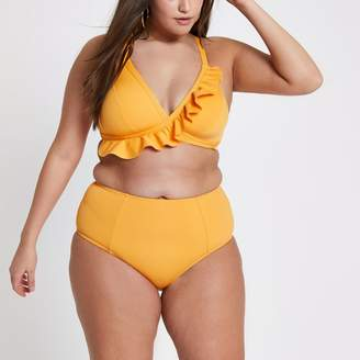 River Island Womens Plus orange high waisted bikini bottoms