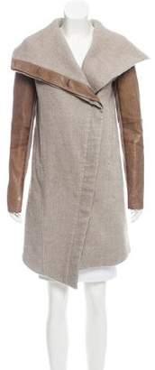 Helmut Lang Leather-Trimmed Linen And Wool-Blend Coat