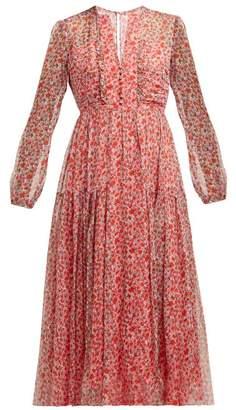 Saloni Yasmeen Poppy Print Silk Midi Dress - Womens - Red Print