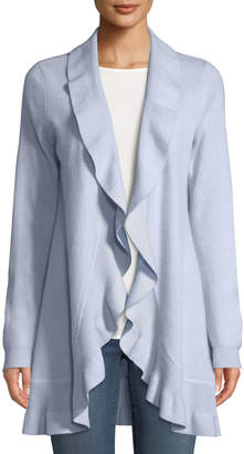 Neiman Marcus Cashmere Ruffled Open-Front Duster Cardigan, Light Blue