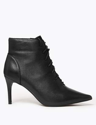 Marks and Spencer Leather Lace Up Stiletto Heel Ankle Boots