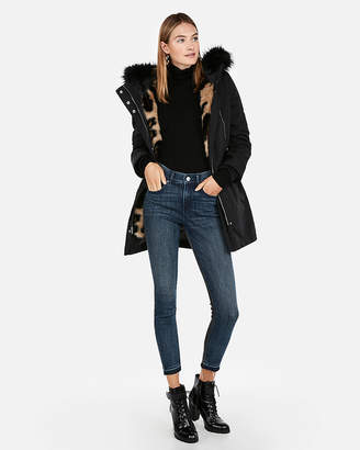 Express Detachable Vest Faux Leopard Fur Anorak