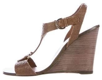 Sergio Rossi Embossed Wedge Sandals