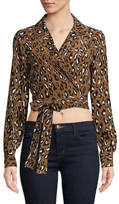 Diane Von Furstenberg Leopard-Print Silk Wrap Top