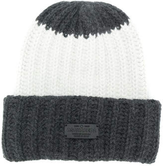 DSQUARED2 ribbed knitted beanie hat