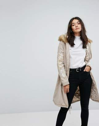 Glamorous Oversized Parka Jacket With Fur Hood And Embroidery