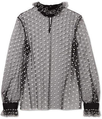 Philosophy di Lorenzo Serafini Ruffled Embroidered Metallic Polka-dot Tulle Blouse - Black
