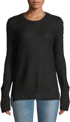 Anna Cai Eyelet-Cuff Pullover Sweater