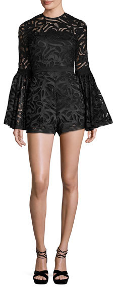 AlexisAlexis Lace Bell-Sleeve Romper, Black