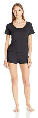 Bottoms Out Women's Modal Sleeve Tee & Short W/Lace Trim Sleep Set