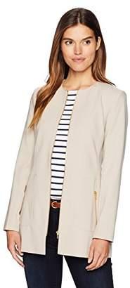 Calvin Klein Women's Lux Long Zipper Front Jacket