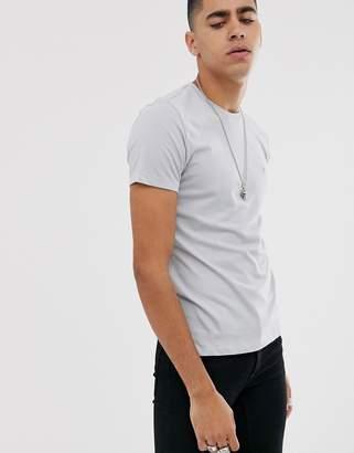 AllSaints ramskull logo crew neck t-shirt in light blue