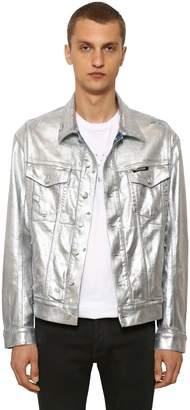 Balmain Wide Metallic Cotton Denim Jacket