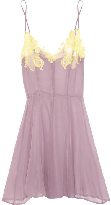 Rosamosario Citrone e Limone lace-appliquéd silk-georgette chemise