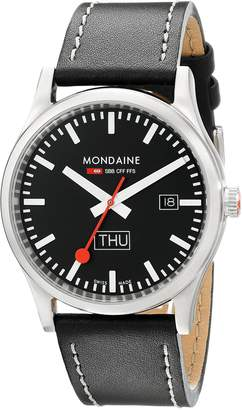 Mondaine Men's A667.30308.19SBB Day Date Leather Band Watch
