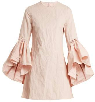 Marques Almeida Marques'almeida - Asymmetric Ruffled Sleeve Twill Dress - Womens - Light Pink