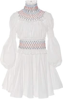 Carolina Herrera Cotton-Blend High-Neck Dress
