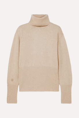 Low Classic Embroidered Knitted Turtleneck Sweater - Ecru