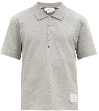 Thom Browne Tricolour Stripe Cotton Polo Shirt - Mens - Light Grey