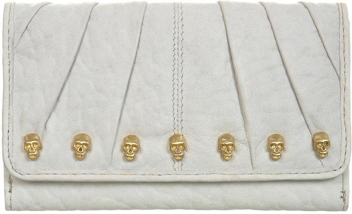 Cream leather skull purse