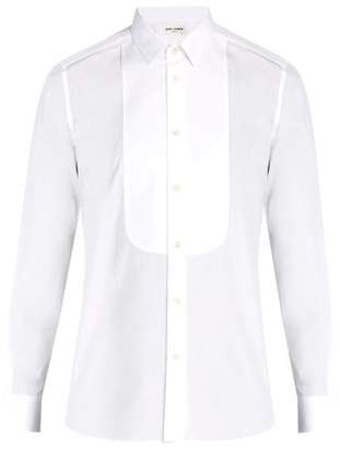 Saint Laurent Rounded Bib Tuxedo Cotton Shirt - Mens - White