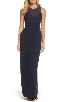 Women's Vera Wang Illusion Yoke Chiffon Gown $278 thestylecure.com
