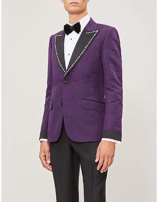 Gucci Sequin-embellished tailored-fit brocade blazer
