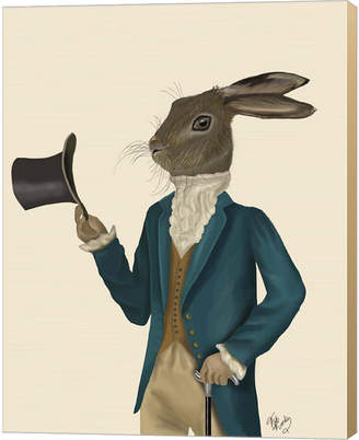 Metaverse Hare In Turquoise Coat By Fab Funky Canvas Art