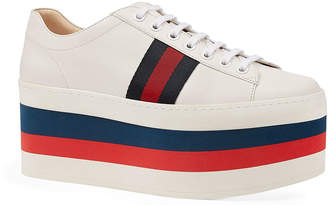 Gucci Peggy Striped Platform Sneakers, White