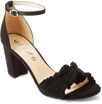 Unisa Black Danni Ruffle Ankle Strap Sandals