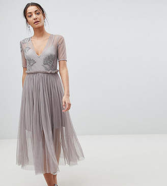 Asos Tall TALL Embellished Deep Plunge Mesh Midi Dress with Delicate Beading