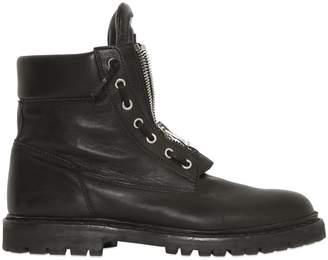 Balmain Zip-Up Leather Combat Boots