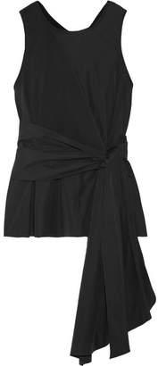 3.1 Phillip Lim Wrap-effect Cotton-jersey And Poplin Top - Black