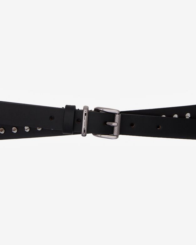 Barbara Bui Spiked Wrap Around Leather Belt: Black