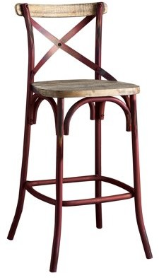 """ACME Furniture ACME Zaire 29"""" Industrial Metal Bar Chair in Antique Red"""