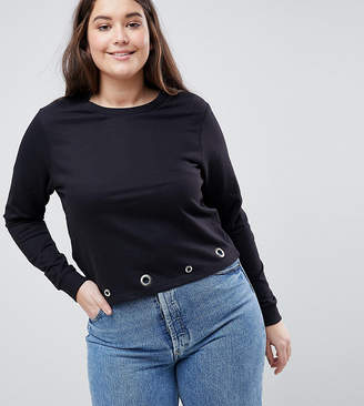 Brave Soul Plus Rennie Sweatshirt With Eyelet Detail