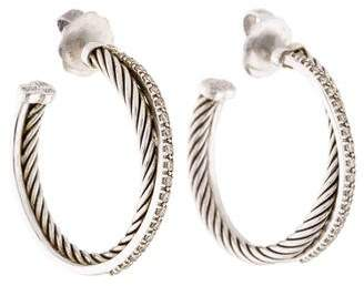 David Yurman Diamond Crossover Medium Hoop Earrings